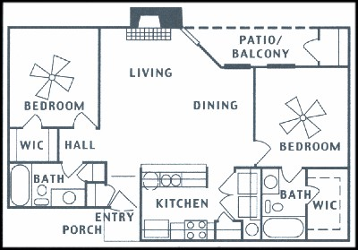 943 sq. ft. floor plan