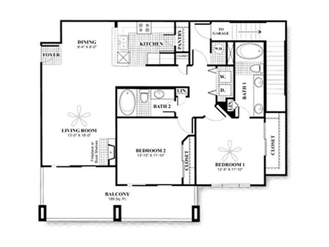 1,158 sq. ft. to 1,215 sq. ft. B3.1 W/ GAR floor plan