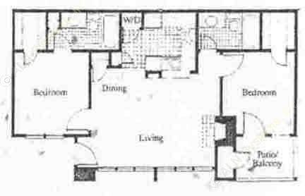 1,055 sq. ft. B4 floor plan