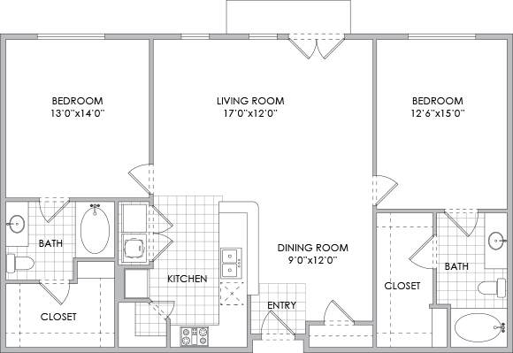 1,283 sq. ft. B6 floor plan