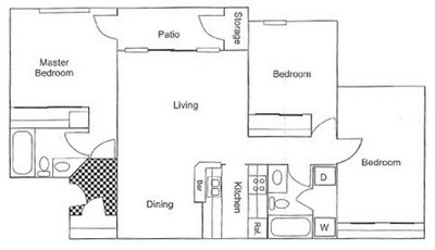1,079 sq. ft. C1 floor plan