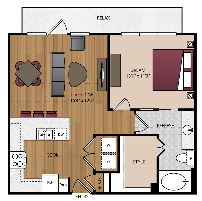 743 sq. ft. P-A7 floor plan