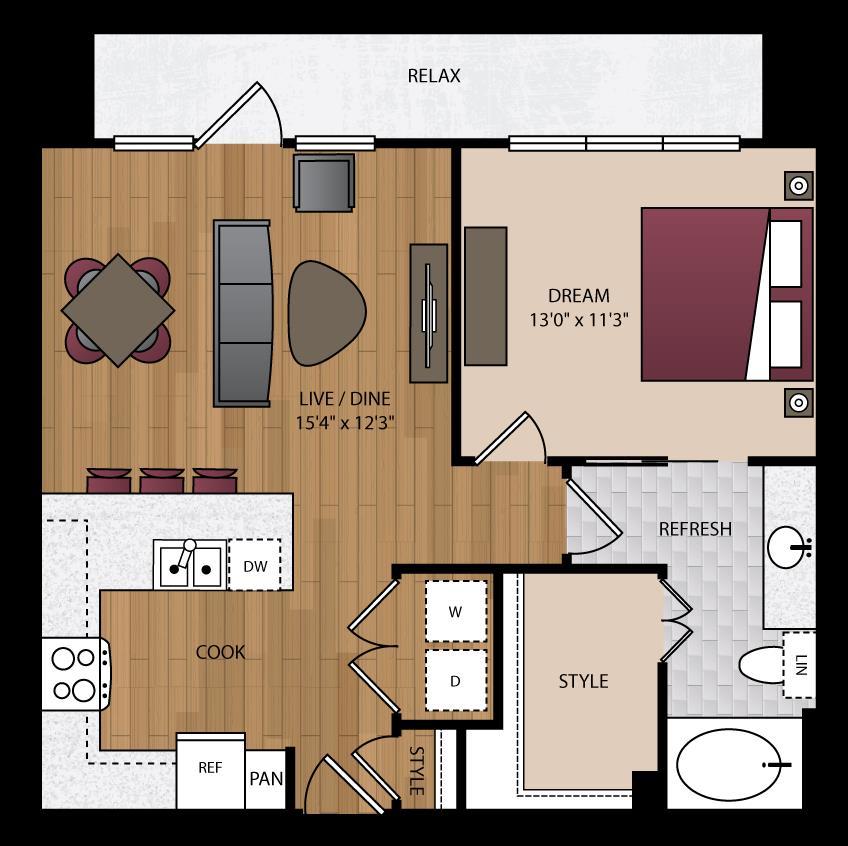 743 sq. ft. P-A7 floor plan