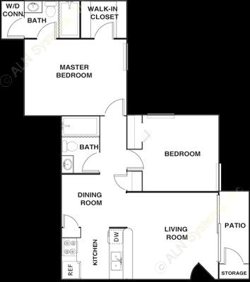 888 sq. ft. B2 floor plan