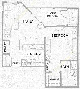 500 sq. ft. A1 floor plan