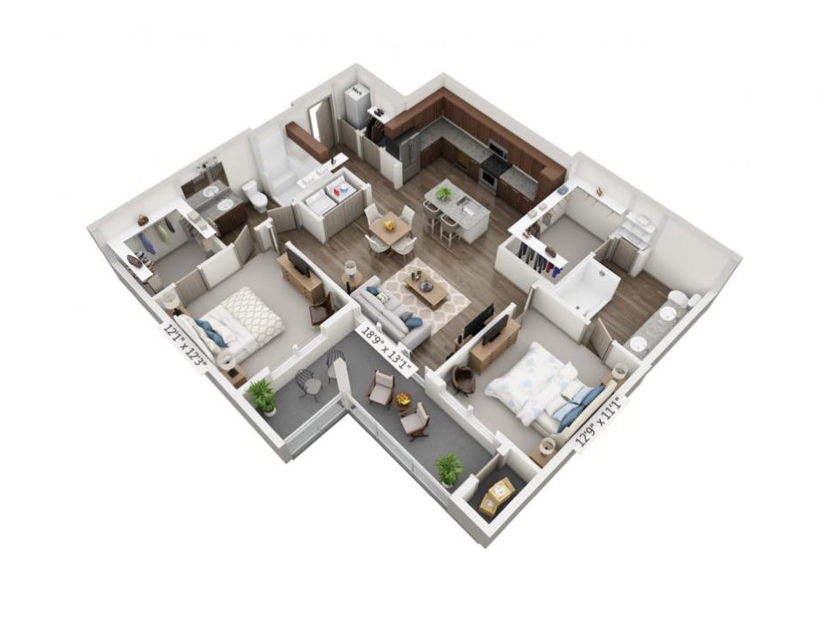 1,156 sq. ft. Sonata floor plan