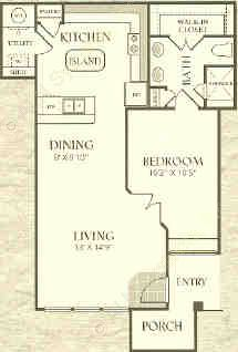 801 sq. ft. A3-L floor plan
