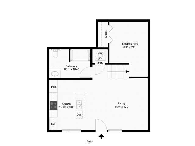 595 sq. ft. Nova floor plan