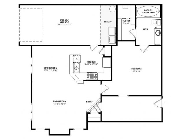 837 sq. ft. Live Oak/Gar floor plan