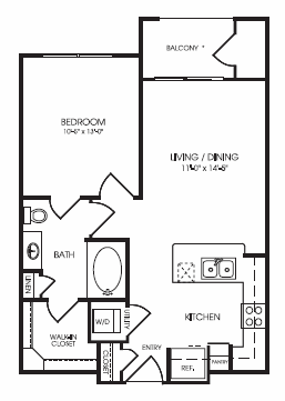 631 sq. ft. Crescent floor plan