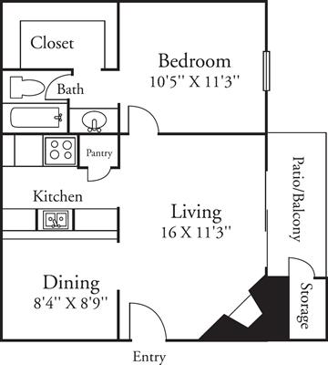 599 sq. ft. A1 floor plan