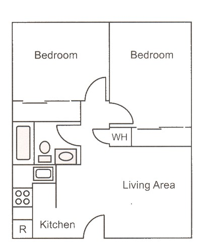 700 sq. ft. B1 floor plan