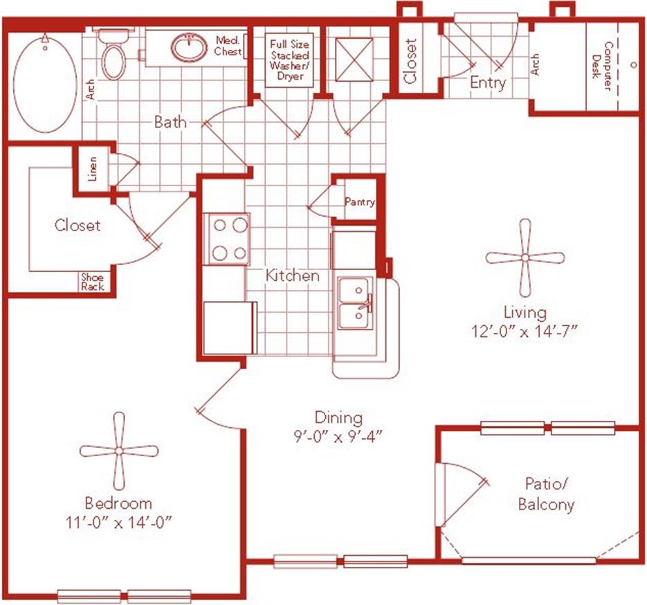 749 sq. ft. Holly Hall floor plan
