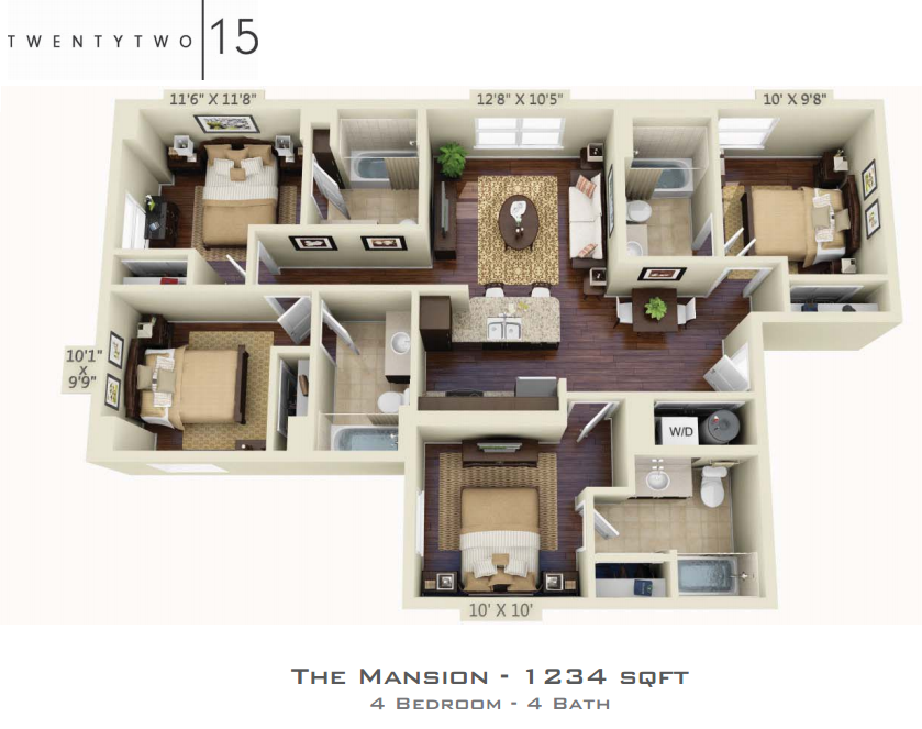 1,234 sq. ft. MANSION floor plan