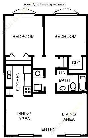 830 sq. ft. 60% floor plan