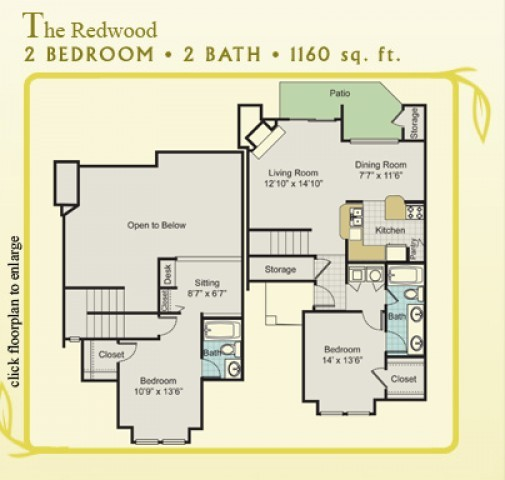 1,160 sq. ft. Redwood Townhome floor plan