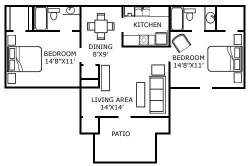 970 sq. ft. F floor plan