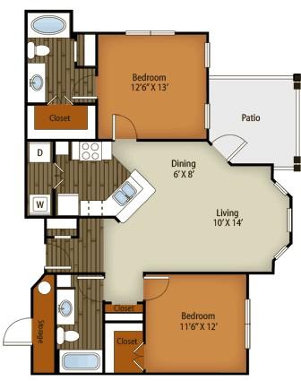 1,065 sq. ft. B2 floor plan