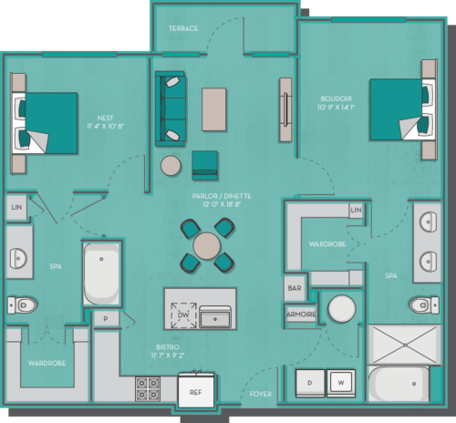 1,067 sq. ft. to 1,072 sq. ft. Maldives floor plan