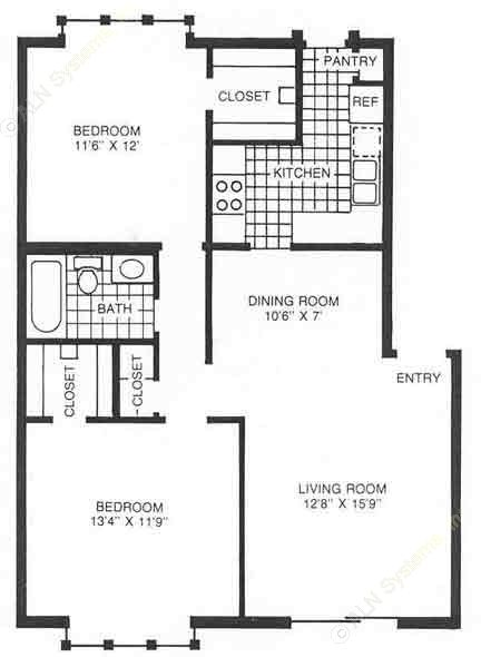 902 sq. ft. A2 floor plan
