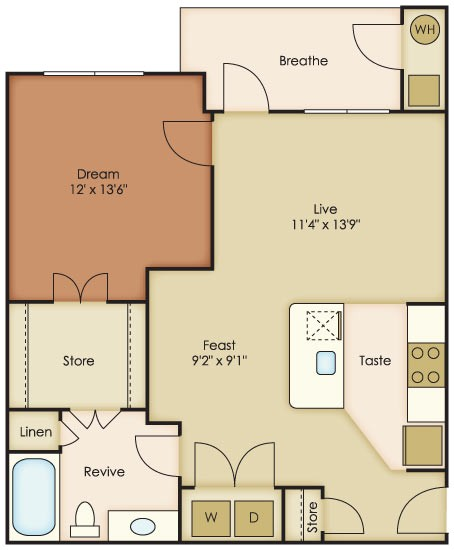 733 sq. ft. Sol floor plan
