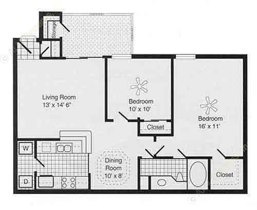 939 sq. ft. E PH I floor plan