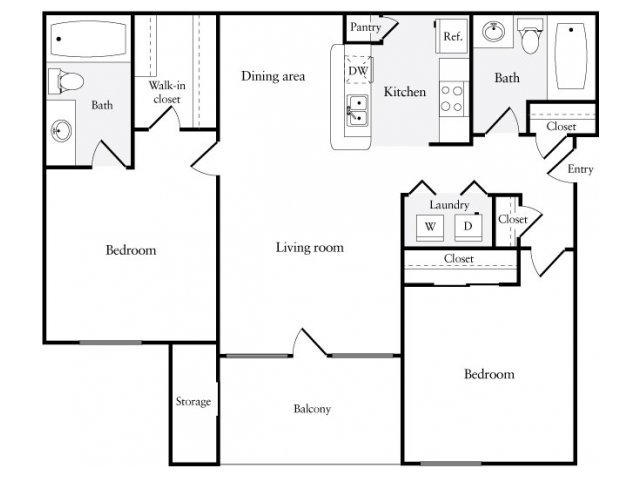 912 sq. ft. floor plan