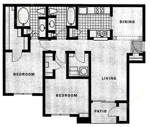 1,082 sq. ft. Bellagio floor plan