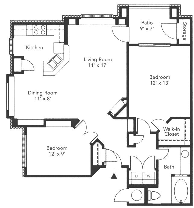 904 sq. ft. to 921 sq. ft. Clairmont floor plan