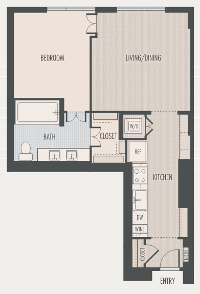 871 sq. ft. A1 floor plan