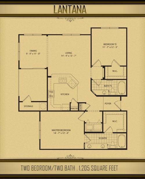 1,205 sq. ft. LANTANA floor plan
