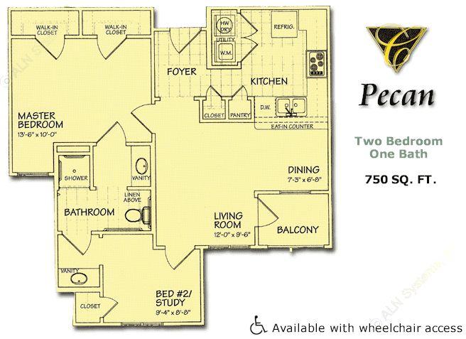 750 sq. ft. Pecan/60% floor plan
