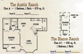 695 sq. ft. Blanco Ranch floor plan