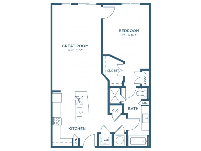 900 sq. ft. A9 floor plan