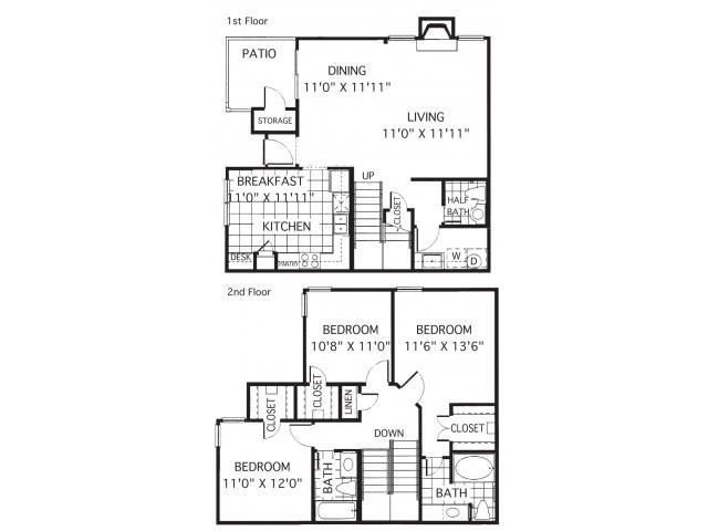 1,528 sq. ft. C2/Montelena floor plan