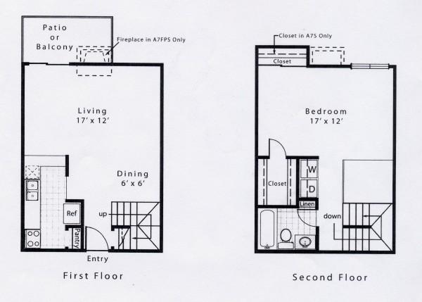 880 sq. ft. A7S floor plan
