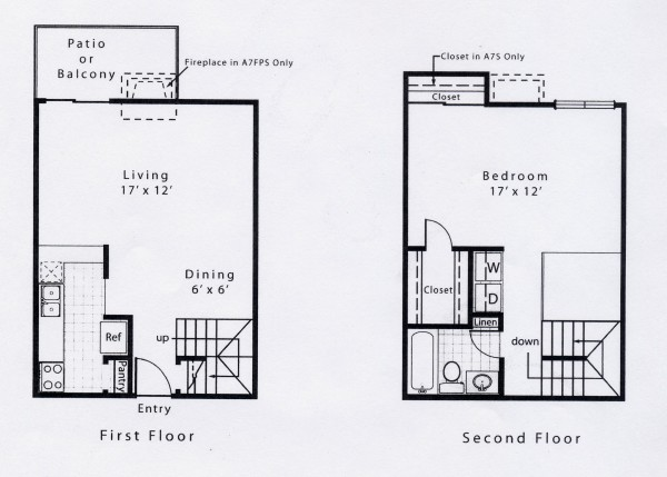 880 sq. ft. A7 floor plan