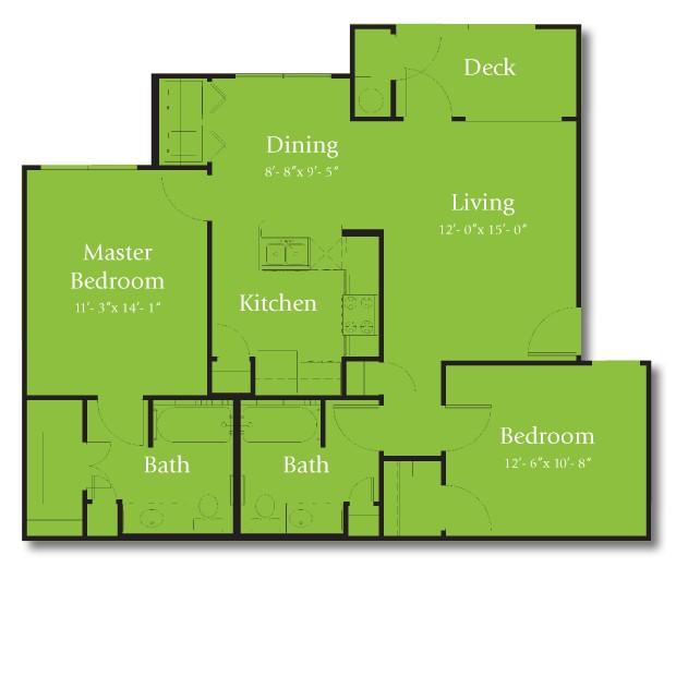 997 sq. ft. 50% floor plan