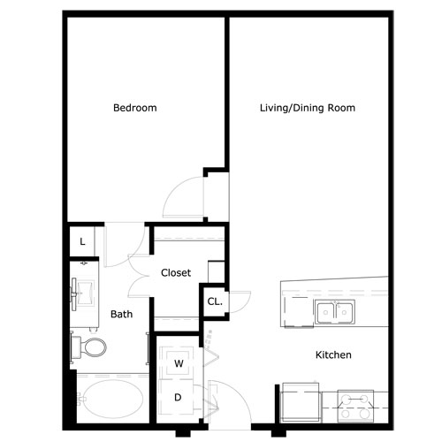 673 sq. ft. A0-II floor plan