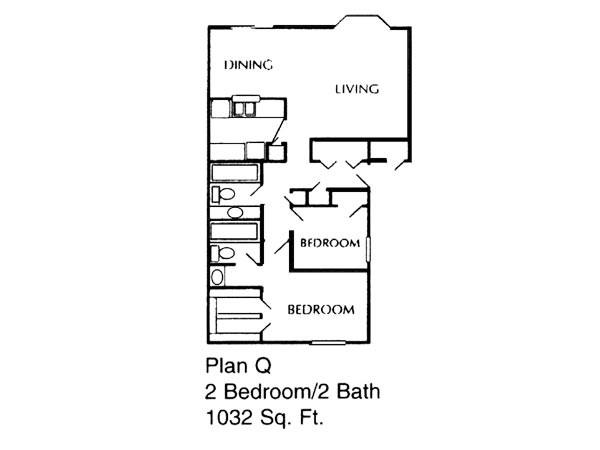 1,032 sq. ft. Q floor plan