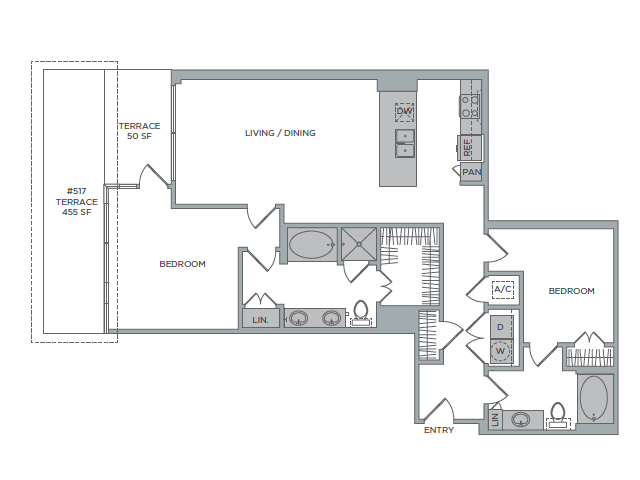 1,288 sq. ft. 2D floor plan