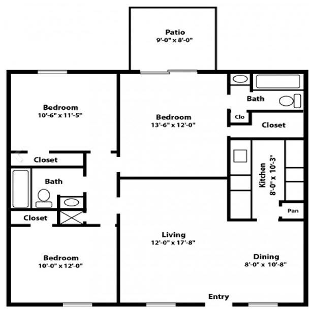 1,111 sq. ft. E floor plan