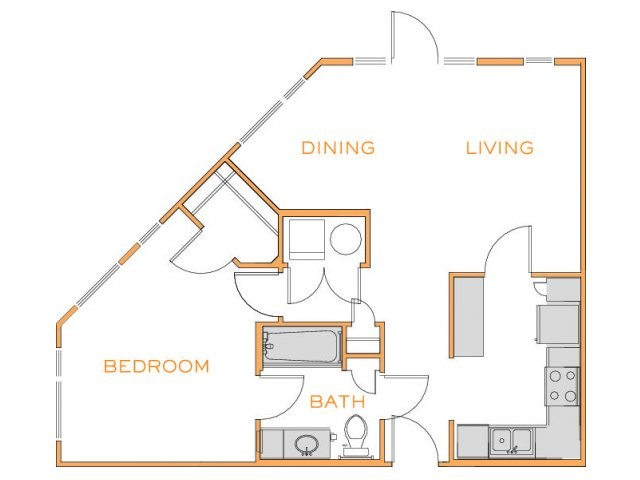 752 sq. ft. B2 floor plan