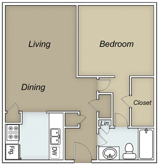 700 sq. ft. Alexander floor plan