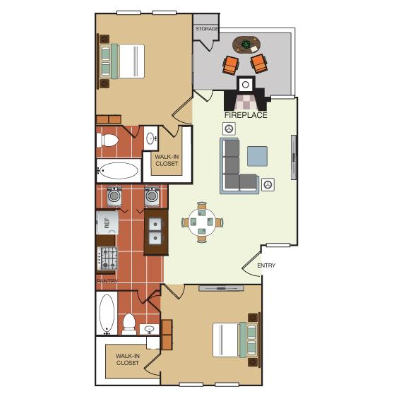 872 sq. ft. 2D floor plan