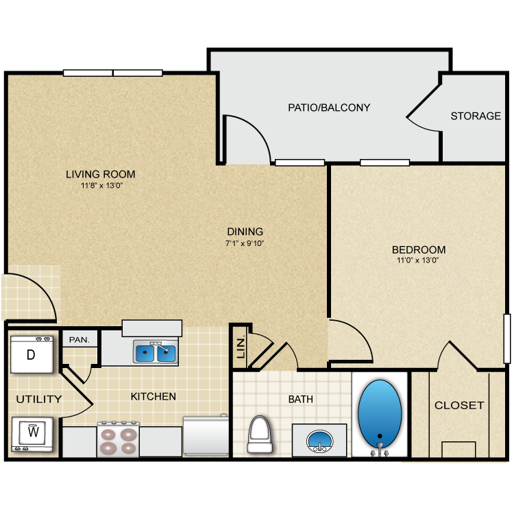 685 sq. ft. Galena floor plan