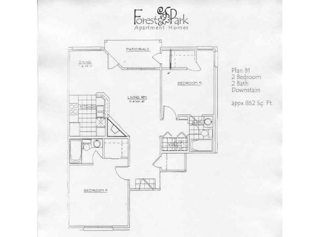862 sq. ft. B1 floor plan