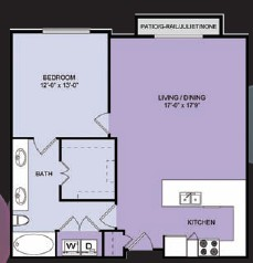 843 sq. ft. A9 floor plan