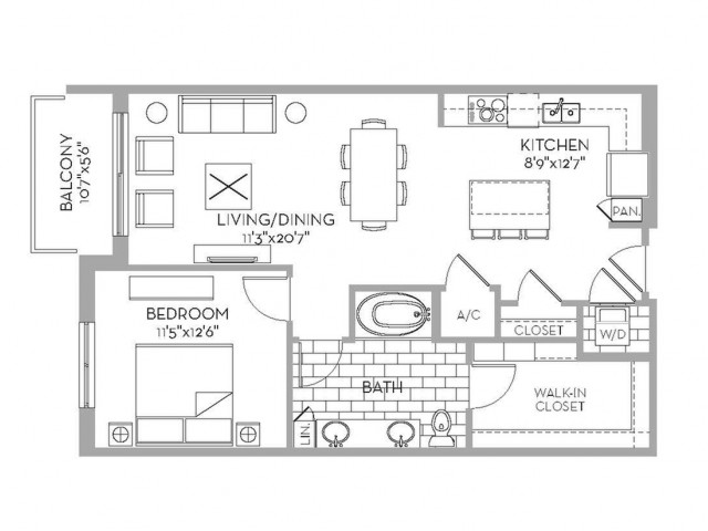 880 sq. ft. Royal(A.15) floor plan