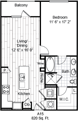 820 sq. ft. A15 floor plan